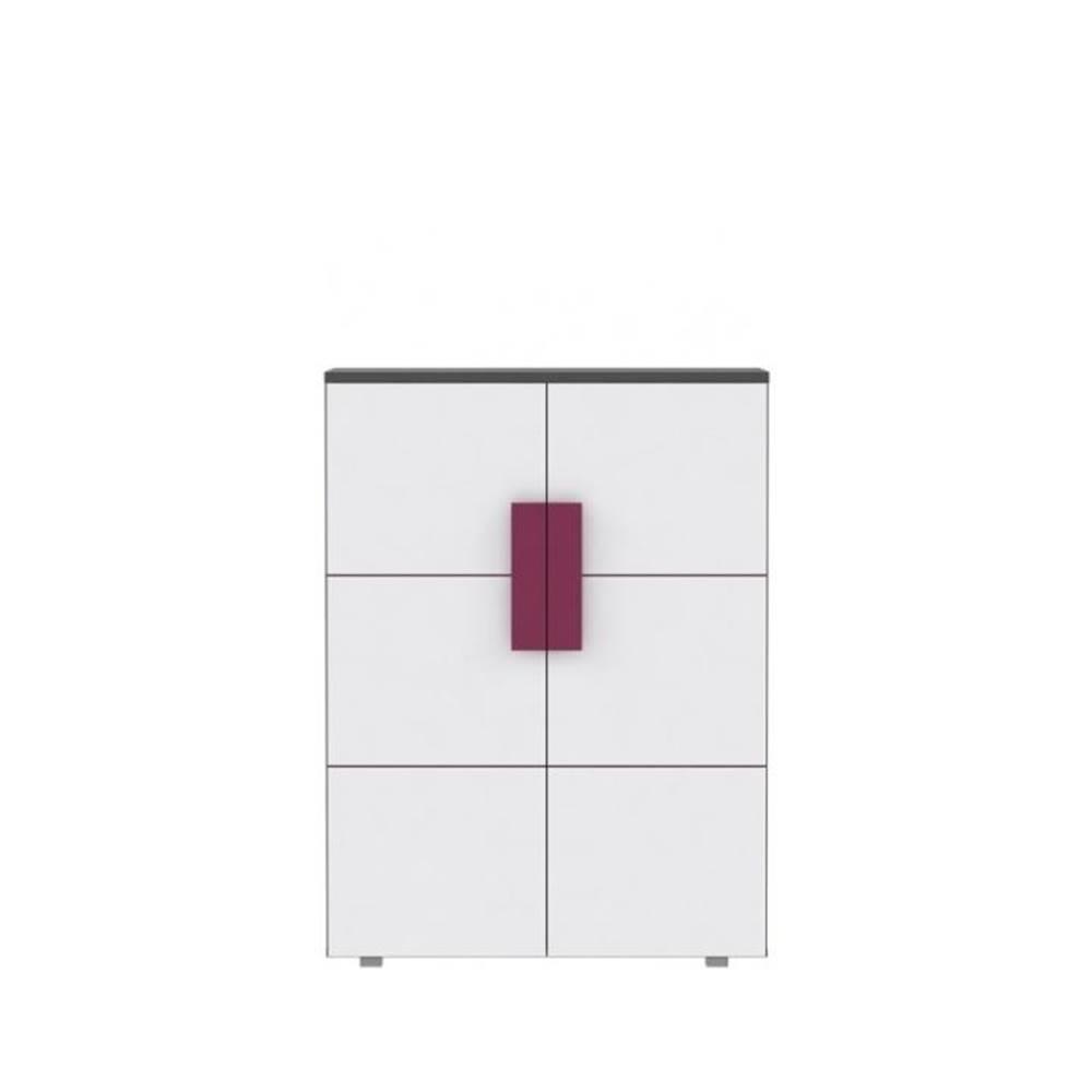 Tempo Kondela Komoda dvojdverová sivá/biela/fialová LOBETE 40