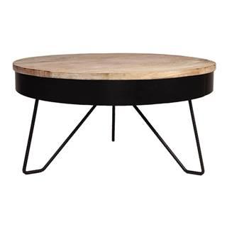 Čierny odkladací stolík s doskou z mangového dreva LABEL51 Saran, ⌀ 80 cm