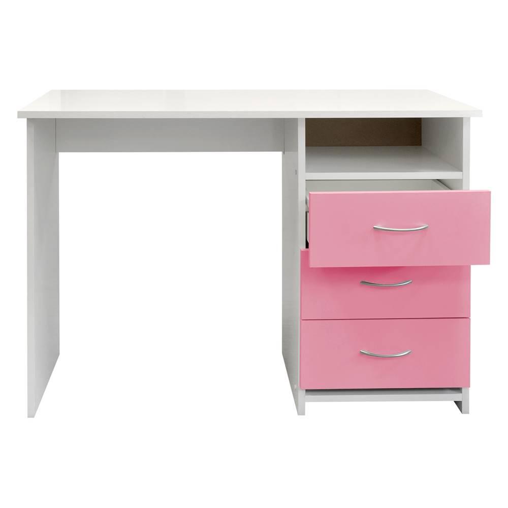 IDEA Nábytok Písací stôl 44 ružová/biela