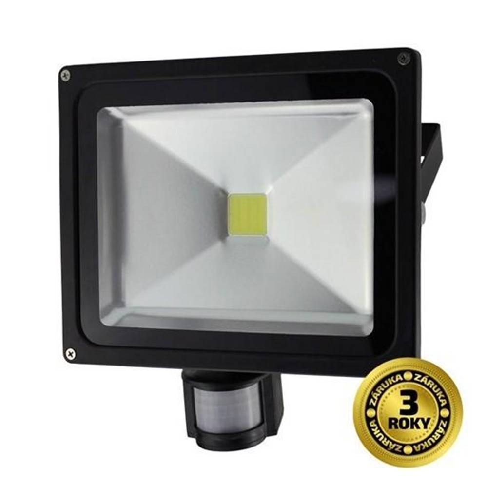 Solight LED reflektor Solight 30W, studená bílá, 2100lm, se senzorem čierny