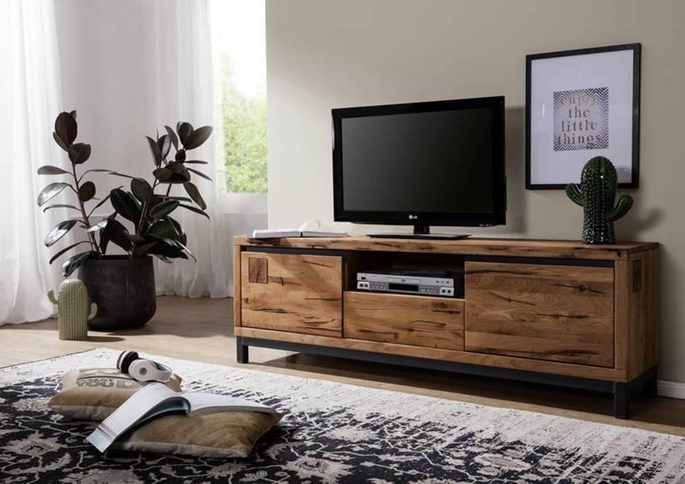 Bighome.sk TIROL II. TV stolík 170x56 cm, tmavohnedá, dub