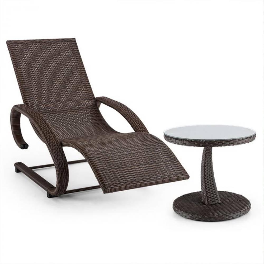Blumfeldt Blumfeldt Daybreak, set záhradného nábytku, hojdacie ležadlo + stôl, optika pleteného koša, hnedý