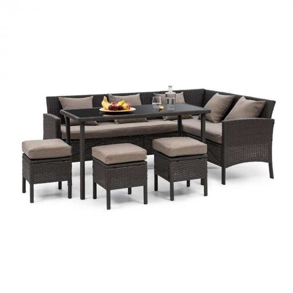 Blumfeldt Blumfeldt Titania Dining Lounge Set, záhradná sedacia súprava, čierna/hnedá