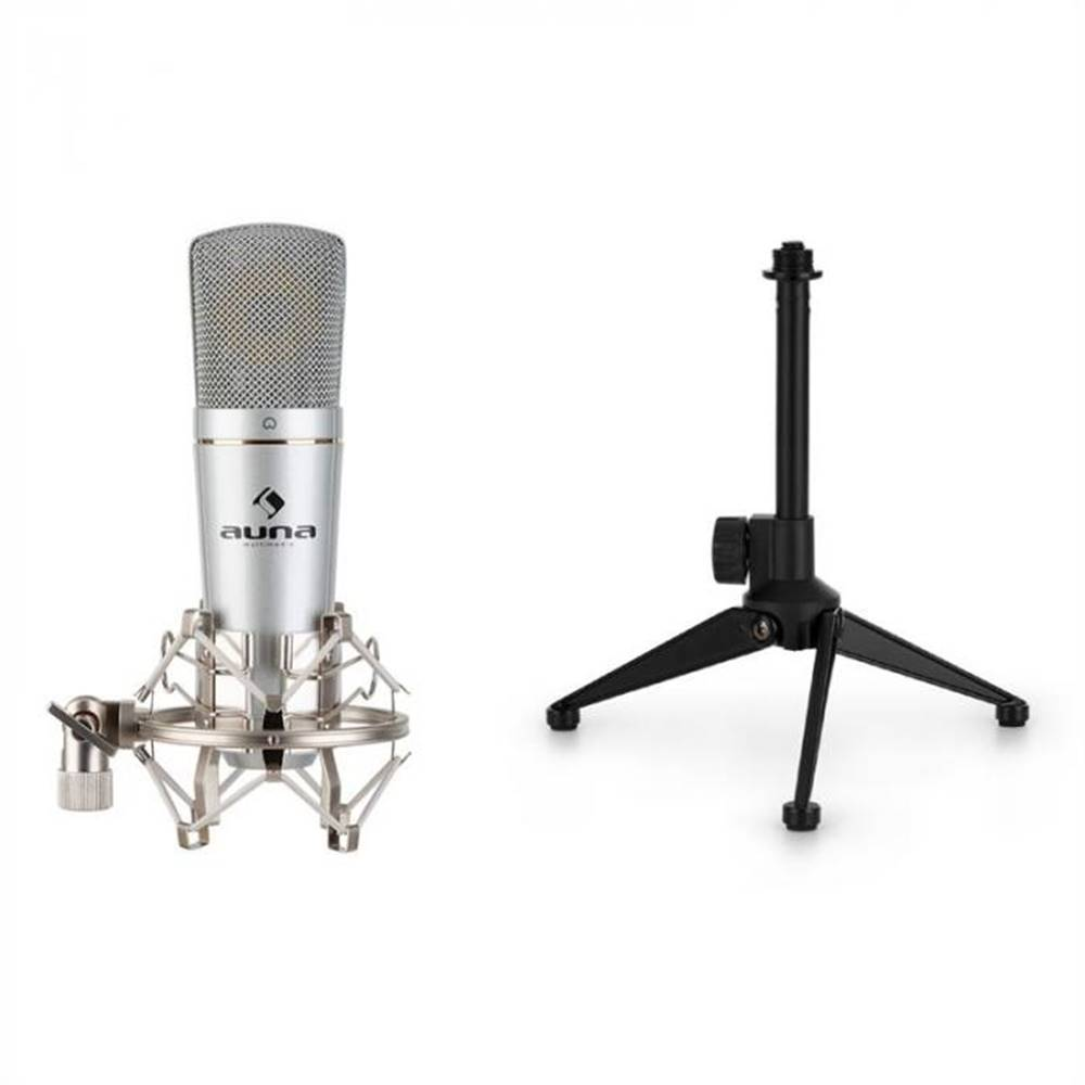 Auna Auna MIC-920, USB mikrofónová sada V1, kondenzátorový mikrofón & stojan na mikrofón, strieborný