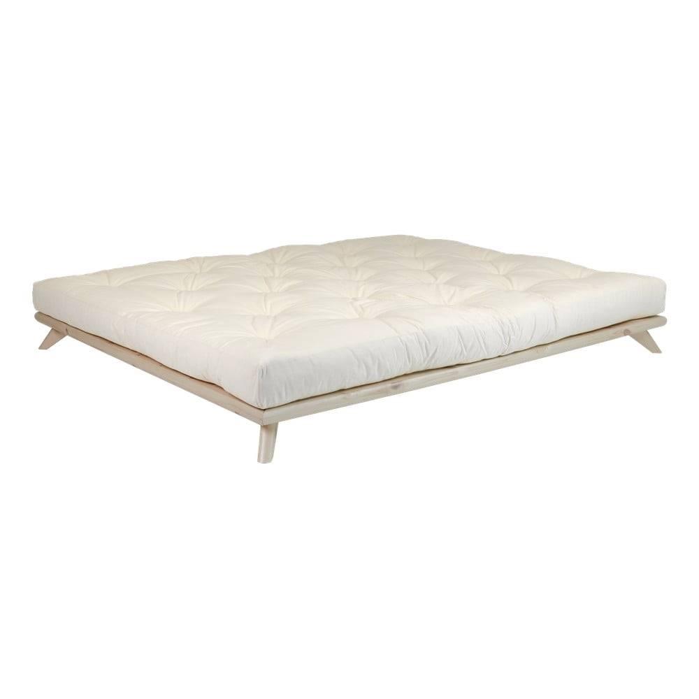 Karup Design Dvojlôžková posteľ z borovicového dreva s matracom Karup Design Senza Double Latex Natural/Natural, 180 × 200 cm