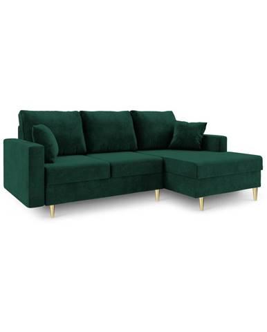 Zelená rozkladacia pohovka s úložným priestorom Mazzini Sofas Muguet, pravý roh