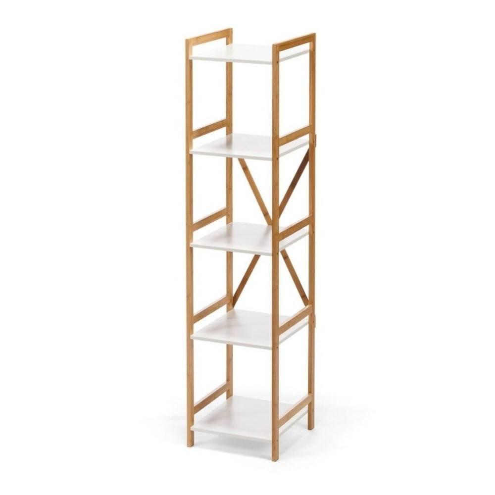 loomi.design Biely úzky päťposchodový regál s bambusovou konštrukciou loomi.design Lora