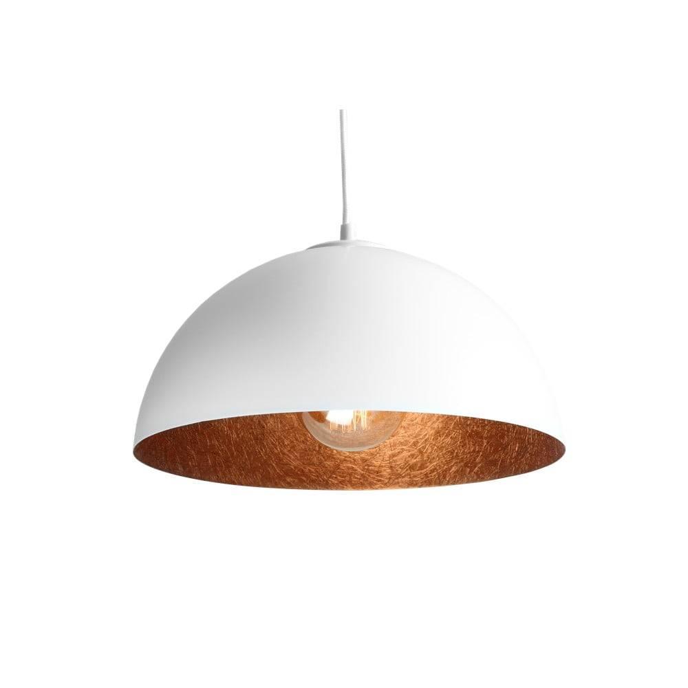 Custom Form Biele závesné svietidlo s detailom v medenej farbe Custom Form Lord, ø 35 cm