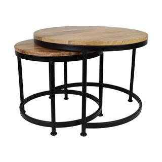 Sada 2 stolíkov s doskou z mangového dreva ø 45 x 40cm, HSM Collection Sanndine