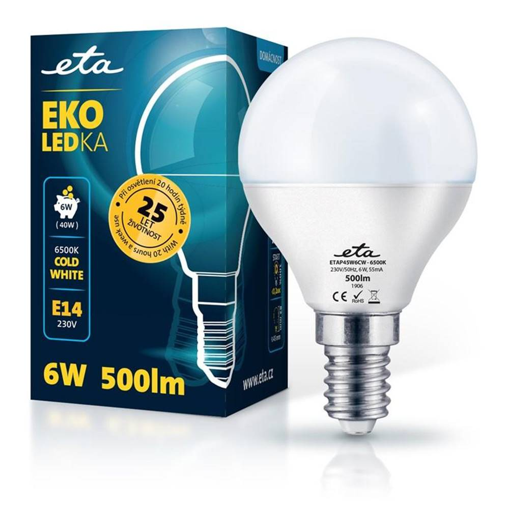 Eta LED žiarovka ETA EKO LEDka mini globe 6W, E14, studená biela