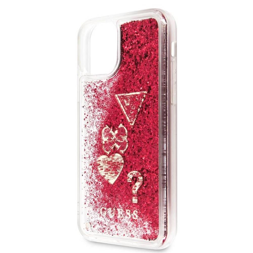 Guess Kryt na mobil Guess Glitter Hearts na Apple iPhone 11 Pro červený