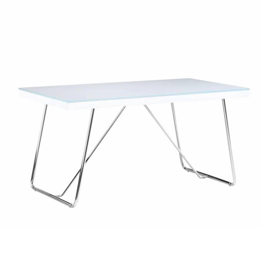 Tempo Kondela Jedálenský stôl tvrdené sklo/kov biela/chróm AMI