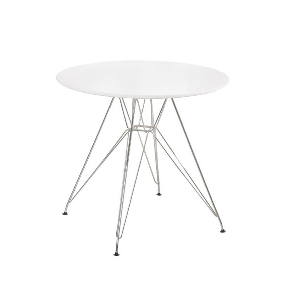 Tempo Kondela Jedálenský stôl chróm/MDF biela extra vysoký lesk HG RONDY