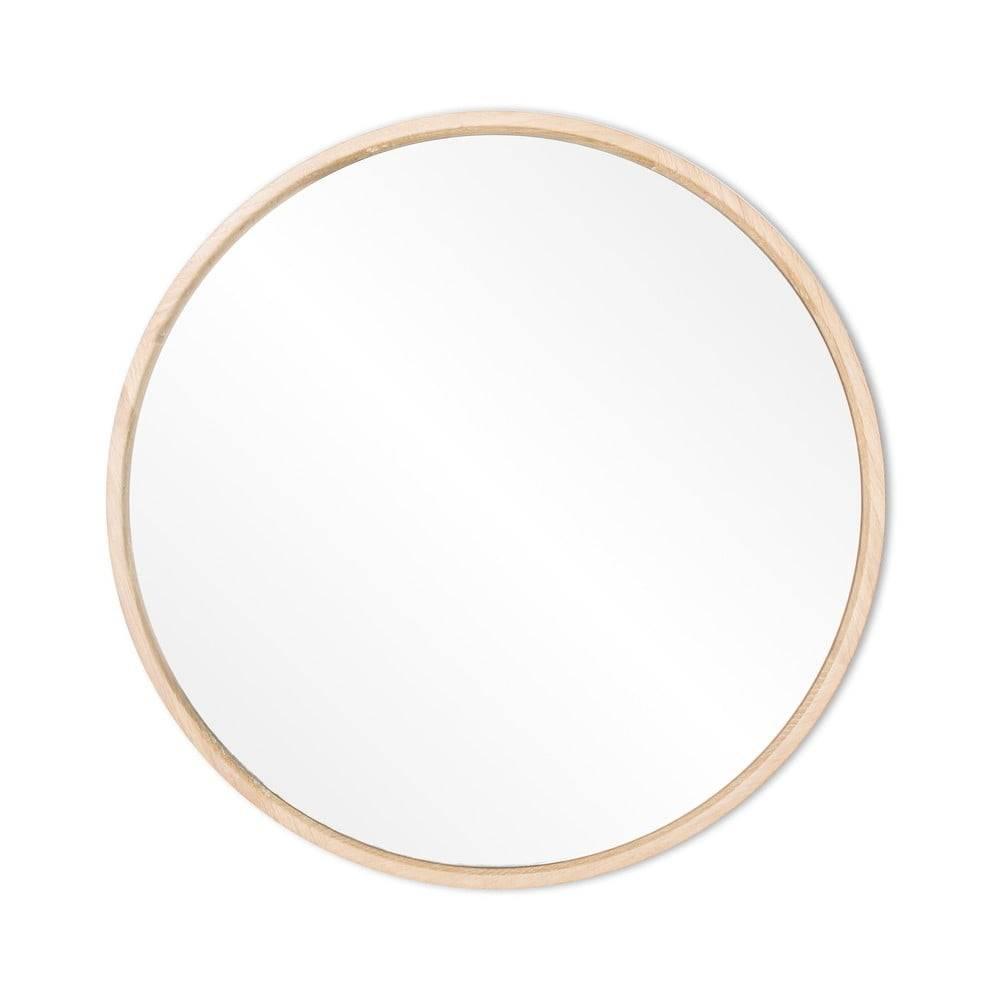 Gazzda Nástenné zrkadlo s rámom z masívneho dubového dreva Gazzda Look, ⌀27cm